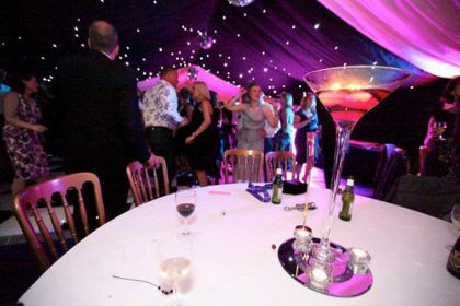 Great example of how to use starlight roof lining over the dance floor