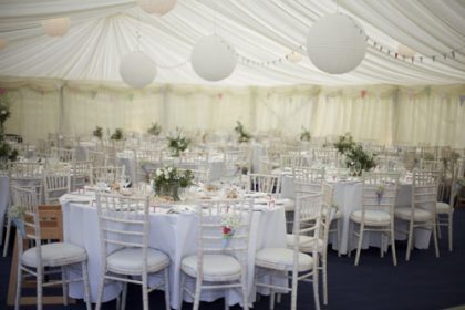 12m x 21m marquee with paper lanterns