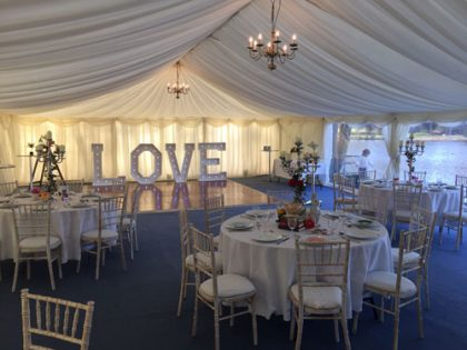 9m x 18m marquee with panoramic windows