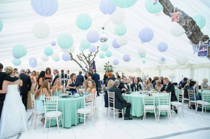 Stunning use of paper lanterns in a 12m x 15m marquee