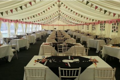 9mx21m Fun themed marquee with great use of bunting