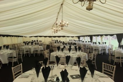 Charity Ball for a prestigious Surrey school. This 12m x 33m marquee seated 300 people