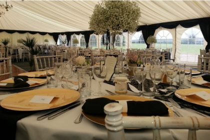 12m x 21m wedding marquee, the Black Swag shows how contrasting colours add great effect