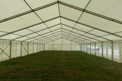 Undressed marquees are perfect to protect events against poor weather. Size shown is a 12mx48m