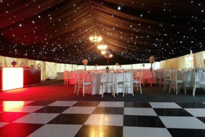 Black and white dance floor in a 12mx33m marquee