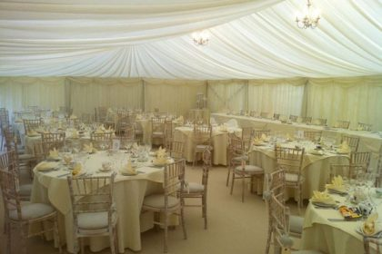 Ivory pleated lining, champagne carpet and limewash chairs