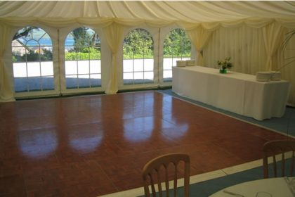 Another angle showing our polished parquet dance floor in a 9m x 18m marquee