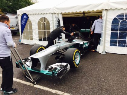 Marquee provided for Mercedes Benz World to house Lewis Hamilton's F1 Car