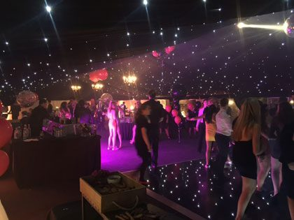 A 12m x 24m marquee with starlight lighting for an 18th