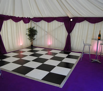 Black and white dance floor. Up to 60 guests