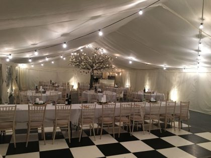 Beautiful use of festoon lighting for a wedding in Surrey