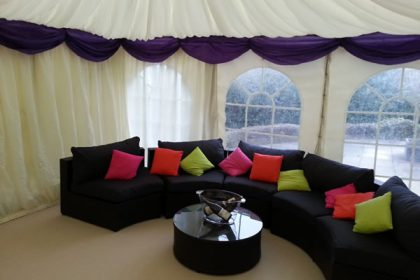 This picture shows the clients own furniture in a 4.5m wide marquee