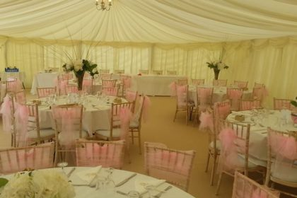 9mx21m Wedding marquee with champagne carpet