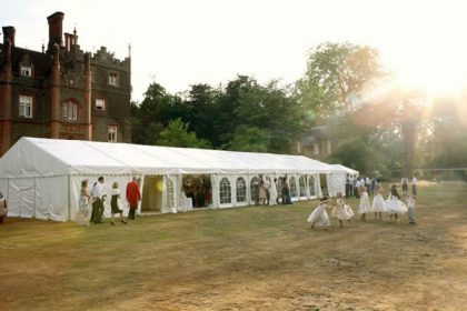 Beautiful shot of a 9m x 24m marquee in the grounds of Albury mansions