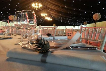 A huge 12mx33m marquee to host a winter ball in Kent