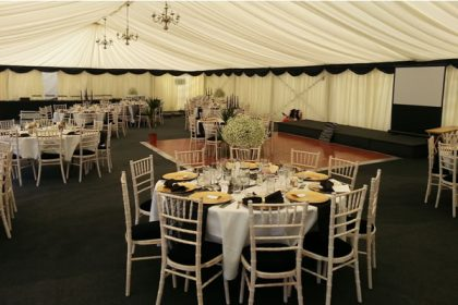 Contemporary wedding marquee for 120 guests in Surrey