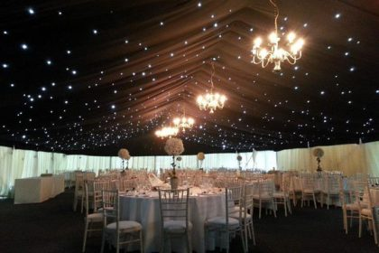 Starlight roof lining with ivory pleated walls