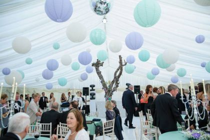 Paper lanterns in a 12mx15m marquee, great colour combination