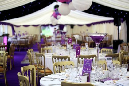A touch of purple was the theme in this 9mx27m marquee