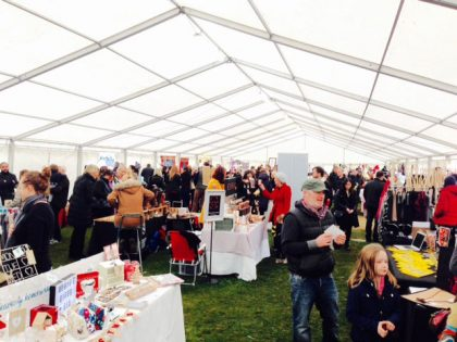 A 12mx36m marquee hosting a Christmas Market at the Medicine Gardens, Surrey