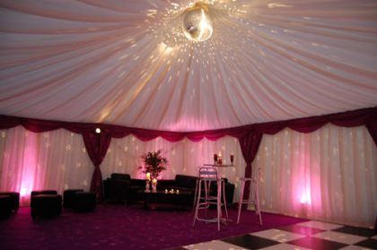 6m x 9m marquee with disco ball and lounge furniture