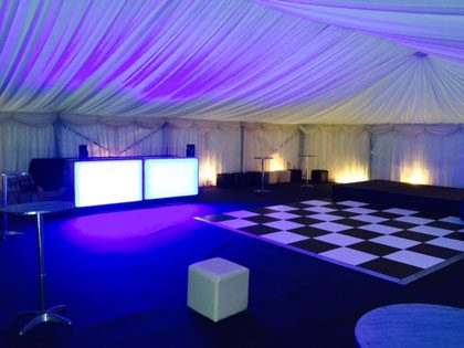 Birthday party in a 12m x 12m marquee. Very effective use of our glow bars