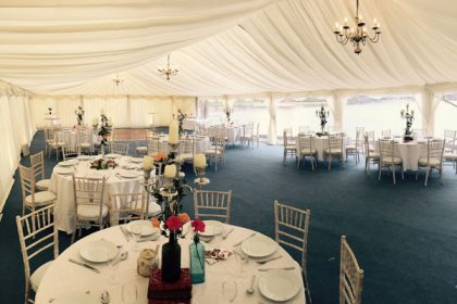 Elegant 9mx18m marquee situated at Silvermere Golf Club, Surrey