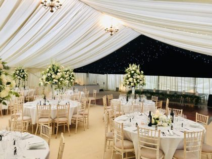 Neutral colours have been used here along with black starlight roof lining over the dance floor