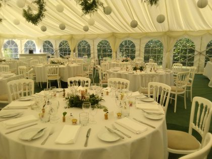 12mx12m marquee with ivory lining and olive green carpet