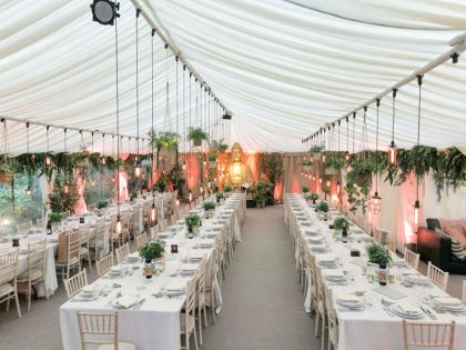 Beautiful 9x18 Wedding Marquee for a client in Teddington. Fantastic use of Props and lighting